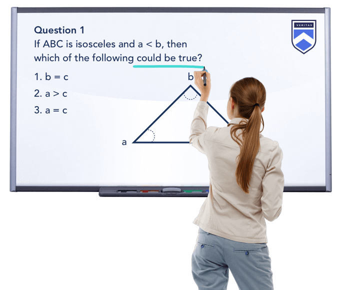 SAT practice question on whiteboard